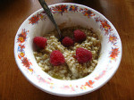 On Food: Yummy Steel Cut Oats with Raspberries